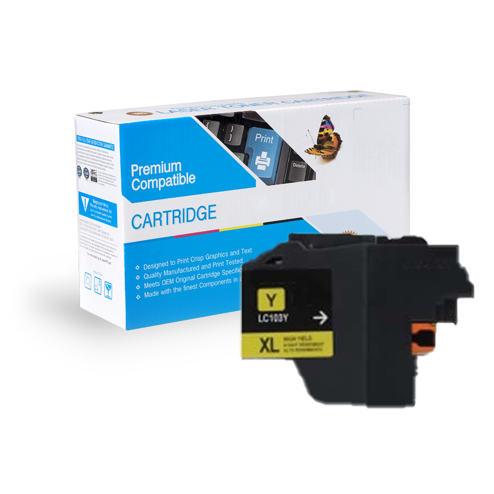 Brother LC103Y, LC101Y High Yield Yellow Inkjet Cartridge